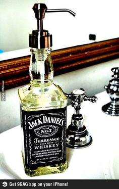 Alcohol bottle turned soap dispenser-awesome for a man cave