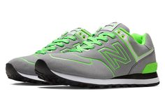 Neon Lights 574, Grey with Neon Green