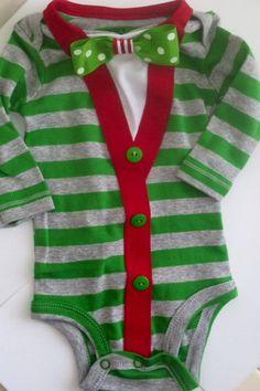 Baby Boy Cardigan onesie with Bow Tie, Christmas baby boy onesie, Preppy Modern look