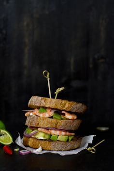 sandwhich with marinated shrimp and avocado:)