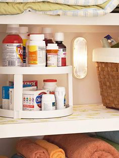 I've done this!  Works GREAT!  Light the Way-  Install a push-button, battery-powered light inside a linen closet to make reading medicine labels and discerning sheet and towel colors a breeze.