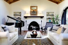 black & white, chevron, vaulted ceiling with exposed wood