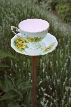 Birdfeeder from old teacup