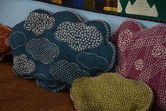 Pillows with Japanese Sashiko embroidery.