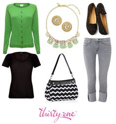 A Suite Skirt Purse in Black Chevron adds a bold pattern to this casual yet chic weekend wardrobe.