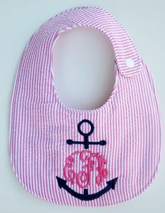 Personalized, monogrammed, seersucker, anchor bib, Baby shower gift. Or for when I have a child. But that's quite a while from now. This is so precious!