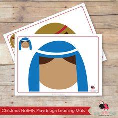 Nativity Playdough Mats, set of 11 printable playdough learning mats by Busy Little Bugs.