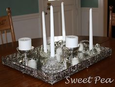 silver and white candles