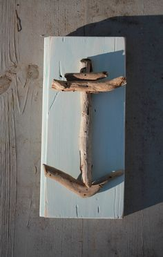 Driftwood Anchor on Reclaimed Wood by MyHoneypickles.