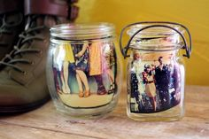 Display photos in mason jars.