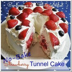 No Bake Strawberry Tunnel Cake from Confessions of a Plate Addict