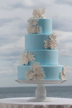 Blue + Coral #WeddingCake I Prestige/Barkley photographic design I #nautical #HelzbergDiamonds #AisleStyle #Entry