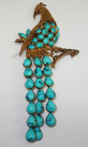 14k gold and turquoise peacock brooch