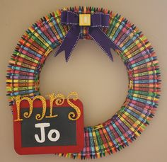 Back to School Party Ideas | Back to School Party Themes | Crayon Wreath: Maybe a great craft to make while kids enjoy the back to school party?