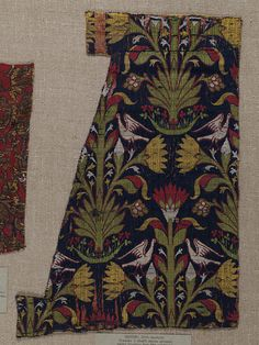 Woven silk with lilies and birds pattern; Spain; 15th century.  V