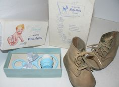 Vintage Baby Nursery Decor Roll A Rattle and Baby Shoes Original Boxes Free s H   eBay