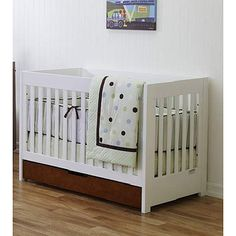 Baby Mod ParkLane 3-in-1 Baby Convertible Crib, Amber and White $300