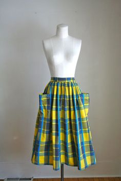 vintage plaid skirt  SUMMER BREEZE cotton skirt / XS by MsTips, $28.00