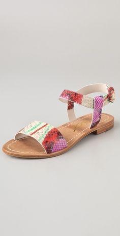 Alice + Olivia  Bella Print Flat Sandals  $148.00