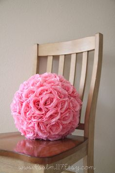 10 inch and 12 inch  PINK - rose wedding pomanders - rose flower pomander balls sitting on ceremony isle floor  - hanging rose ball