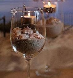 Wine Glass Craft - Cool way to add some beach style decor to your home