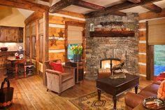 Very cozy small log cabin. Hunter & Co, interiors. Whitefish, Montana