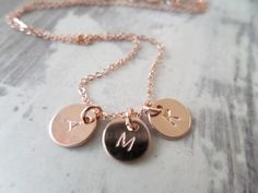 3 Tiny Rose gold disks with initial by JasmineLaneboutique on Etsy, $42.00