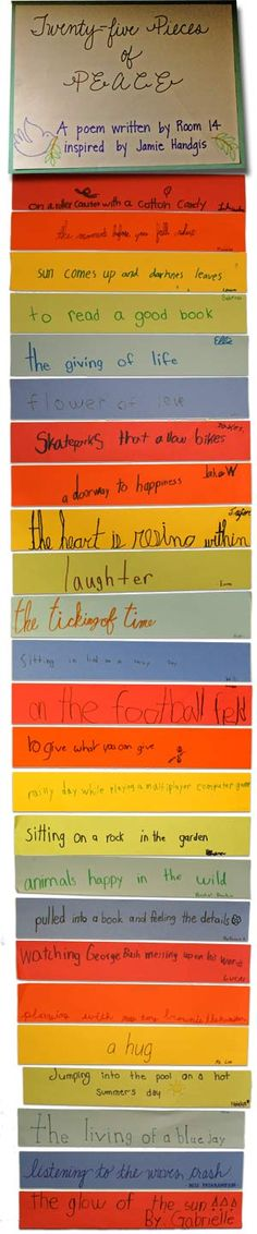 Explorer Elementary Charter School: Peace Poems (each student writes one line so the poem is constructed by the whole class)