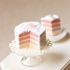 Enjoy a pink rainbow cake in dollhouse miniature scale!