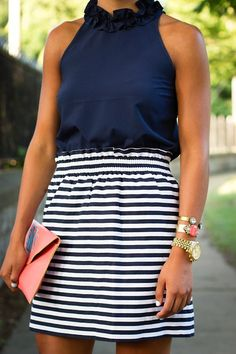 cute outfit navi stripe, outfit