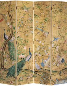 hand-painted folding screen with peacocks