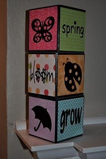 Seasonal Blocks. Just rotate the blocks and you get a new set of decorations (Spring, St. Patrick's Day, Easter).