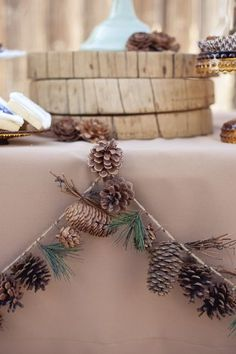 Pinecone Table Garland for winter wedding