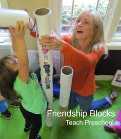 DIY Friendship Blocks from Teach Preschool