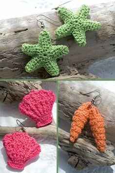 Crochet Seashell Earrings - Free Patterns