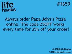Papa John's Pizza Discount : 1000 Life Hacks