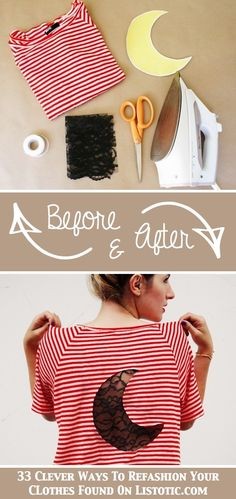 DIY lace inset tshirt #refashion #tshirt