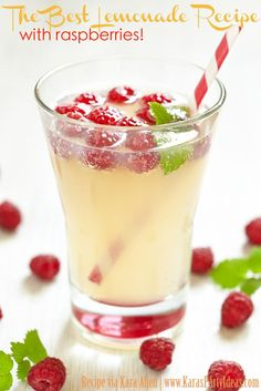 The Best Lemonade Recipe! With raspberries! - Kara's Party Ideas - The Place for All Things Party