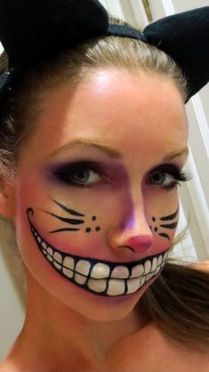 Halloween makeup | DIY @Irene Hoffman Impens .. you need to make a Cheshire Cat Costume.... Add to the Queen of Hearts and the Mad Hatter.... you could do the Rabbit, tweedle dee and dum..... (there's always next year)
