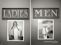 photos of the bride and groom as kids on the bathroom doors