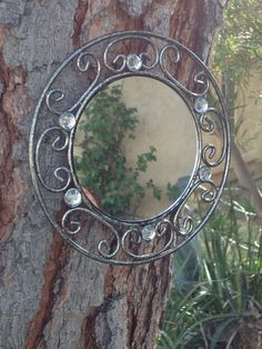 Wrought iron mirrors set of two black and gold. $30.00, via Etsy. www.etsy.com/shop/shabbyciccalifinds mirrors, mirror set, irons, wrought iron, iron mirror, black