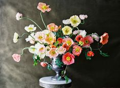 colorful poppy centerpiece by sarah winward