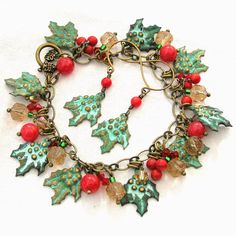 Holly Charm Bracelet, Christmas Jewelry Set, Holly Earrings, Holiday Jewelry, Christmas Charm Bracelet