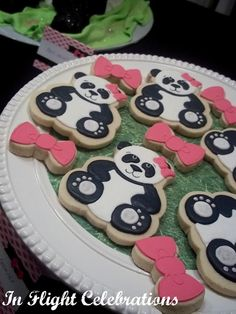 In Flight: A Panda Party   Cookies by Bee's Knees Creative  Panda Party  Pink Panda