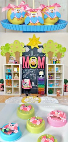 Mama OWL THEMED BIRTHDAY PARTY with so many CUTE ideas! Cute Mothers day party, too! Via Karas Party Ideas KarasPartyIdeas.com #owl #birthday #party #theme #cake #idea #decorations #supplies #ideas