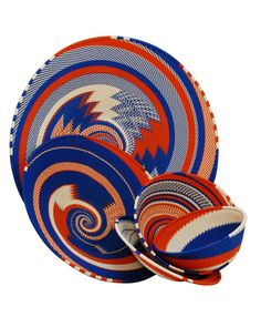 Africa | Telephone wire baskets in red, white and blue from South Africa