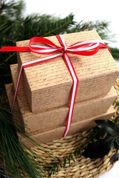 Handwriting packaging. #calligraphy #handwriting #gift #wrapping #red #ribbon #Christmas #packaging
