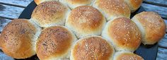 Homemade hamburger buns with a special dough shaping technique for a better texture.