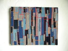Recycled denim textile art