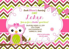 Pink Lime and Brown OWL invitation  YOU by PrettyPartyCreations, $11.50